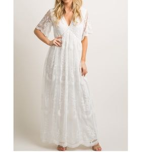 Pinkblush White Lace Overlay Maxi Dress L